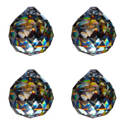 Crystal Ball d.20 mm Esoteric - Pack of 4 - Rainbow Crystal Feng Shui - Window Decoration - LEAD CRYSTAL 30% PBO - Multi-Faceted Crystal Decoration - Chandelier Decoration - Crystal/Light