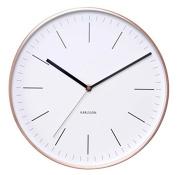 Karlsson Wall Clock KA5507WH Minimal Frame with 5 x 27.5 x 27.5 cm, Metal, White/Copper