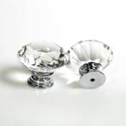 Revesun 4PCS/LOT Crystal Glass Door Knobs Cabinet Pulls Cupboard Handles Drawer Knobs Wardrobe Home Hardware Diamond Shaped Clear Diameter 30mm