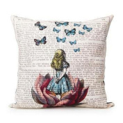 Oyedens Cotton Linen Home Decor Throw Sofa Car Cushion Cover Pillow Case Girl with Buttflies