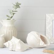 Set of 2 White Large Ceramic Sea Shells for coastal or nautical decoration