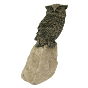 Small Bronze Owl on Stone Sculpture - Cold Cast Bronze Resin on Polystone Resin Ornament - Fabulously High Detail & Quality
