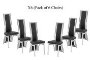 X6 Black Dining Chairs in Faux Leather Foam Padded and solid made Chrome frame