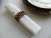 PACK OF 4 WHITE 100% COTTON TABLE NAPKINS **RINGS NOT INCLUDED**