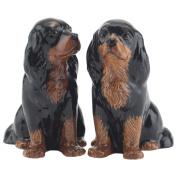 Quail Ceramics - Black & Tan Cavalier King Charles Spaniel Salt And Pepper Pots