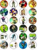 BEN 10 24 EDIBLE WAFER - RICE PAPER CAKE TOPPERS EACH DESIGN IS 40mm IN DIAMETER