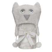 Elegant Baby Giftable Cream Owl Aviator Hat with Fleece Lining and Soft, Cream, 80cm x 90cm Ultra Plush, Soft Stroller Blanket