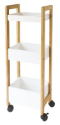 Gelco 709803 Nato Serving Trolley with 3 Shelves 79 x 19 x 28 cm Bamboo White