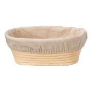 Vzer 21cm Oval Long Banneton Brotform Bread Dough Proofing Rising Rattan Handmade Basket & Liner