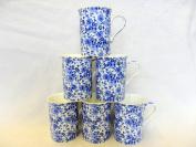 Set of 6 China Mugs in Blue Rose design
