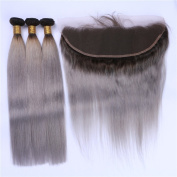 Tony Beauty Hair 1B/Grey Ombre 13x4 Lace Frontal Closure With 3 Bundles Body Wave Dark Roots Silver Grey Ombre Brazilian Virgin Human Hair Wefts With Full Lace Frontal 4Pcs Lot