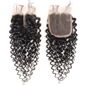 Arling 7A Virgin Brazilian Human Hair Lace Top Closure Kinky Curly Bleached Knots with Baby Hair 10cm x 10cm middle way Part Lace Closure