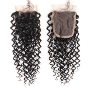 Arling 7A Virgin Brazilian Human Hair Lace Top Closure Kinky Curly Bleached Knots with Baby Hair 10cm x 10cm free way Part Lace Closure