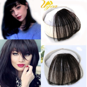 Ugeat Fashion Air Fringe Remy Human Hair Pieces Front Clip in Hair Fringe Hair Extensions without Hair Temples #1b Natural Black Colour