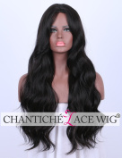 Chantiche Brown Long Wavy Synthetic Wigs- Daliy Wear Cheap Hair Replacement Wig for Black Women with Middle Parting 60cm