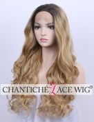 Chantiche Ombre Blonde Wavy Curly Lace Front Wigs Realistic Looking Synthetic Wig Heat Resistant Fibre Hair for Women 60cm