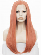 Ombre Wig Long Straight 60cm Silky Hair Synthetic Lace Front Wig Rose Goden