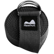 Reehut Fitness Exercise Yoga Strap (1.8m, 2.4m, 3m) w/ Adjustable D-Ring Buckle for Stretching, Flexibility and Physical Therapy