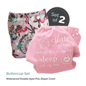 "Baby Tooshy Cloth Nappy Covers with DOUBLE Gussets. Waterproof, Adjustable & Reusable. One Size for Prefolds/ Flats/ Inserts. Set has 1 Embroidered ""Cloth on my bum..."" & 1 Patterned Cover. Buttercup"