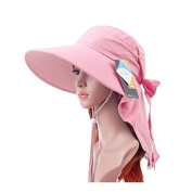 AUCH Adjustable Quick-drying Outdoor UV Spf 50+ Large Brim Visor/Boonie/Sand Beach Sun Hat with Net Protection for Women w/ Horsetails
