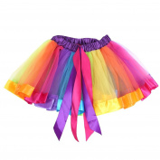 ESHOO Kids Girl Ballet Dress Party Bow Tulle Tutu Skirt Costume Rainbow Dance Wear