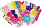 Baby Shower Headband Station DIY Kit by JLIKA - Make 32 Headbands and 5 Clips - DIY Hair Bow Kit - Birthday Party Collection