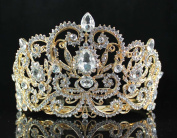 Janefashions Victorian Rhinestone Crystal Tiara Hair Combs Bridal Pageant Prom T1505g Gold