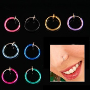 8 Lots Mix Colour Clip Fake Punk Nose Ear Belly Rings