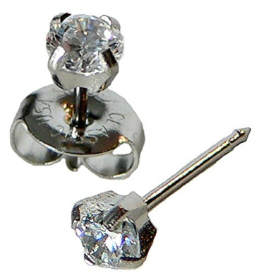 Silver Ear Piercing Earrings 4mm Clear Round Cubic Zirconia CZ Studex System 75