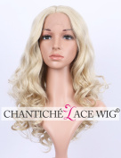 Chantiche Sexy Blonde Wavy Curly Lace Front Wigs Medium Long Heat Resistant Synthetic Hair Wig for White Women 46cm