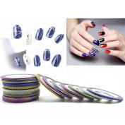Alonea 21pcs Nail Rolls Striping Tape DIY 3D Nail Art Tips Decoration Stickers