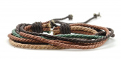 Men Women Fashion Handmade Multiple Strand Hemp Cord String Surfer adjustable bracelet - brown and green