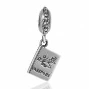 Artbeads Aeroplane Passport Dangle Bead Charm 925 Sterling Silver Dangle Bead Travel World Charms Fits DIY European Bracelet