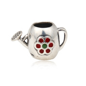 Artbeads My Garden Red Enamel Watering Can 925 Sterling Silver Charm Bead for European Style