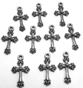 Set of Ten (10) Silver Tone Pewter Petite Cross Charms