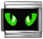 CATS EYES GREEN Photo Italian Charm 9mm Link - 1 x CA120 Single Bracelet Link