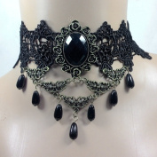 Urmiss Punk Style Wedding Party Black Lace Choker Beads Tassels Chain Pendant Necklace for Women and Girls
