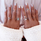 6 Pcs /set Arrow woolly turquoise ring