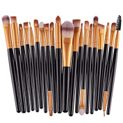 Love Millie Girls Colourful Makeup Brushes Makeup Brush Set Powder Brush Makeup Brush Kit (20pcs)black gold