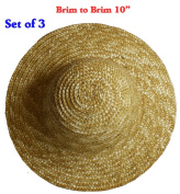25cm (Set of 3) Vintage Round Top Straw Woven Hat for Dolls Bears Country Crafts