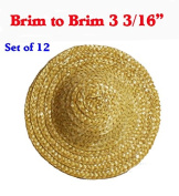 7.6cm (Set of 12) Vintage Round Top Straw Woven Hat for Dolls Bears Country Crafts