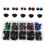 BESTCYC 1box(75pcs) 10MM 5Color Plastic Safety Eyes and Noses Set for Teddy Bear Doll Animal Puppet Crafts