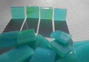 FortySevenGems 100 Pieces Stained Glass Mosaic Tiles 1.3cm Teal Opaque Mix Swirl Glass Textured