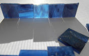FortySevenGems 100 Pieces Stained Glass Mosaic Tiles 1.3cm Blue Black Glass Textured