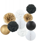 Kubert New Years Eve Party Decoration Black White Glitter Gold Tissue Paper Pom Pom Paper Tassel Garland Paper Circle Garland for New Years Party Decor,Wedding Birthday Decoration,Set of 20 Pcs
