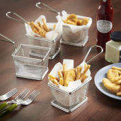 CookSpace ® Set of 4 - Mini 18/8 Commercial Grade Stainless Steel Chip Fine Mesh Basket Oblong Frying Fry Serving Basket 10 x 8 x 7.5cm + FREE 50 Sheets of Greaseproof Paper 20 x 20cm ¦ Ideal for Chips, Fries, Shrimps, Onion Rings, Wedges & Food Presen ..