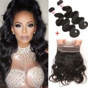7A Brazilian Body Wave Hair 2 Bundles with 360 Lace Frontal Closure 13x4x2 Full Frontal Lace Closure Natural Black Colour 16 18+14