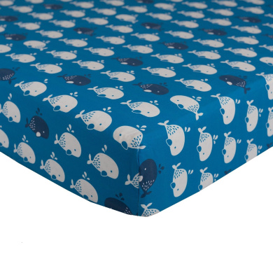 Lolli Living Blue Whale Fitted Sheet, Teal