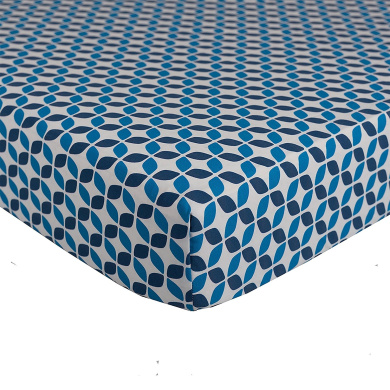 Lolli Living Navy Leaves Fitted Sheet, Teal