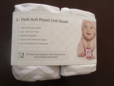 Crib Sheets - 2 Pack Fitted 100% Soft Jersey Cotton Sheet - Bedding with Unisex Clouds & Chevron Custom Design - Fits Standard Mattress for Babies & Toddlers - Perfect Baby Shower Gift